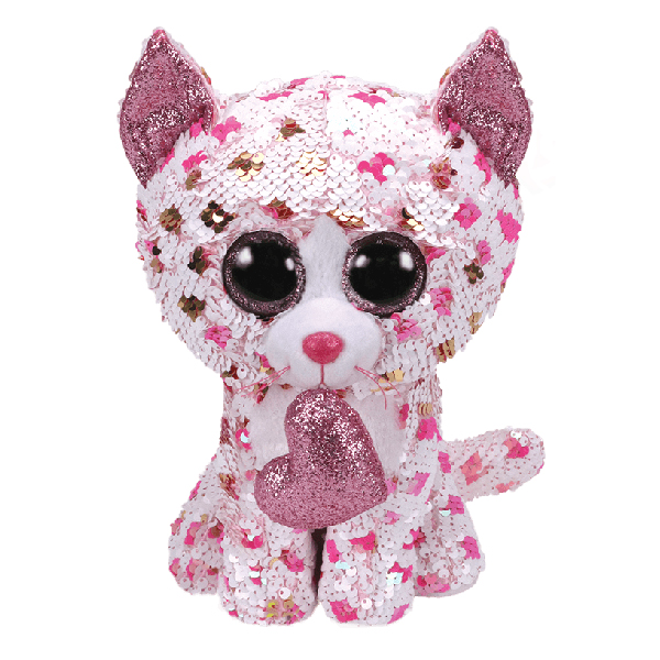 Ty Flippables - 13inch Sequin Plush (Cupid the Polka Dot Cat with Heart)