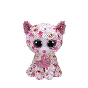 Ty Flippables - 6inch Sequin Plush (Cupid the Polka Dot Cat with Heart)
