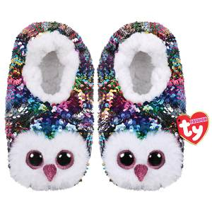 Ty Fashion – Sequin Owl Slipper Socks - Owen S/M/L